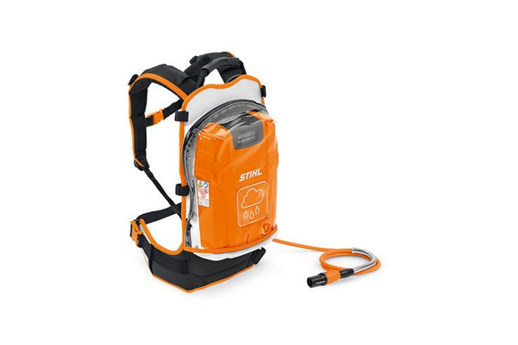 Orange and black AR Backpack Battery with straps and coiled charging cable on white background