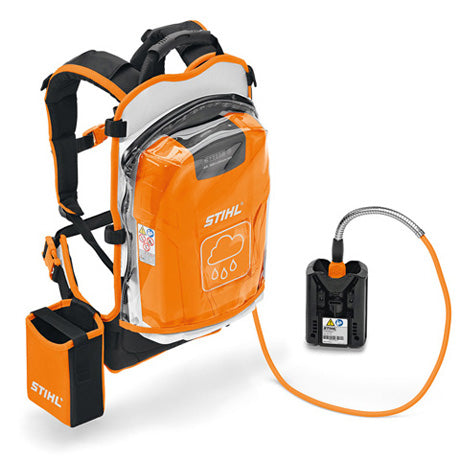 Orange and black  AR L Backpack Battery with a plastic cover in an upright position with a battery holder on the side
