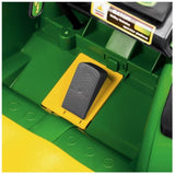 John Deere HPX children's electric gator in green and yellow trim and seat. Image of accelerator pedal