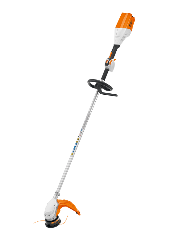 STIHL Battery Powered FSA 90 R Strimmer product image on a transparent background. Item is white and orange with a black round handle