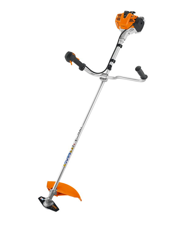 The STIHL FS 94 C-E Brush Cutter product image on a transparent background. This item is white, orange and black and features a bike handle