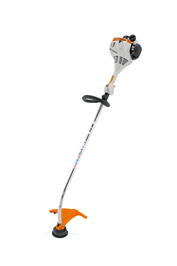 STIHL FS 38 Petrol Strimmer product image, showing the product with a round handle and a curved shaft