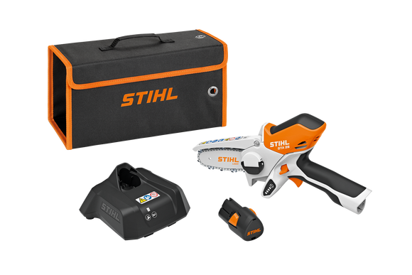 STIHL battery powered GTA 26 hand pruner kit. Image shows battery, charger, hand pruner shell and a handy carry kit as separate items.