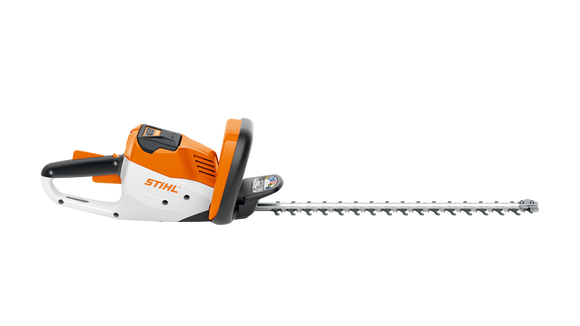 STIHL HSA 56 Battery powered Hedge Trimmer product image on transparent background with the battery inserted. The image shows the hedge trimmer from the side