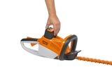 Image showing how easy it is to remove and add the battery for the STIHL HSA 86 Hedge Trimmer