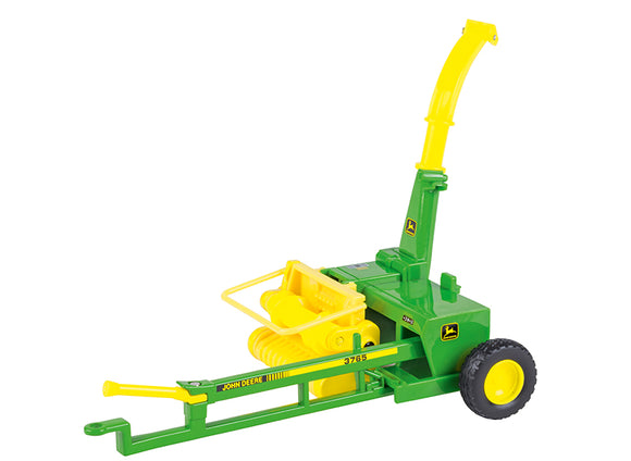 John Deere Trailed Forage Harvester Children's Toy in classic John Deere green with yellow