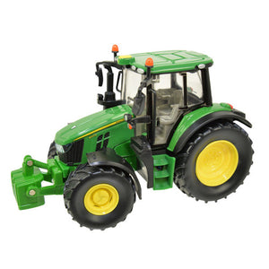 Image of the John Deere 6120M Children's Toy Tractor in classic John Deere green. Image shows the product from the side