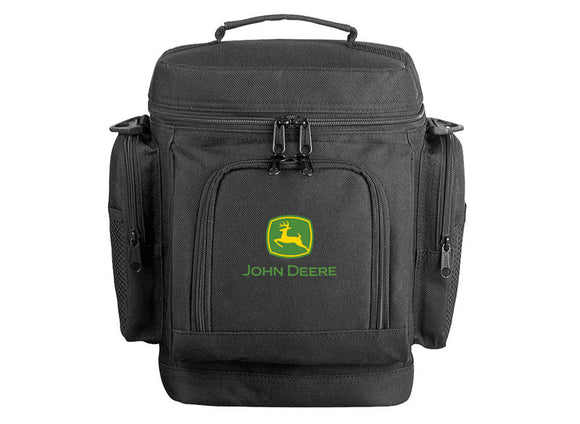 John Deere cool bag in black with the green and yellow John Deere logo on the front.