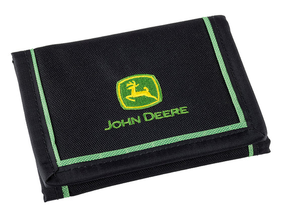 Product image of the John Deere polyester wallet in 'action'. The wallet is black, and features the john deere logo on the front with a green trim.