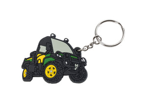 John Deere PVC Gator Keyring in black, with green and yellow details