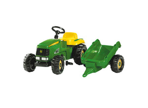 RollyKid John Deere tractor and trailer for kids. Has a detachable trailer, anti-sleep pedals and an openable bonnet.