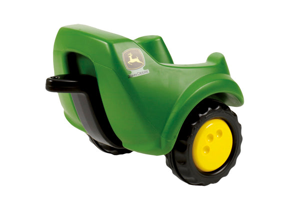 The Rolly MiniTrac John Deere trailer in green with yellow and black wheels