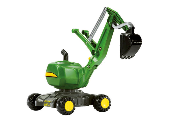 Product image of the RollyDigger John Deere sit on digger with wheels, for children. Comes in classic John Deere green and yellow
