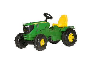John Deere RollyFarmTrac 6210R Pedal Tractor for children. Comes in classic John Deere green and yellow