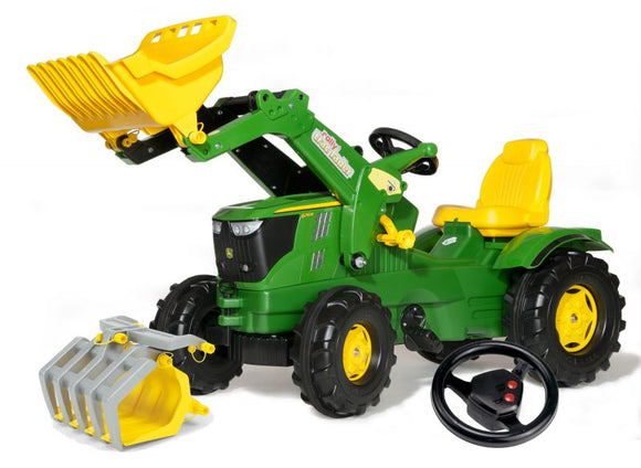 John Deere Rolly FarmTrac 6210R Tractor Farm Set children's toy in classic John Deere green and yellow