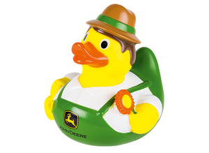John Deere Rubber Duck toy featuring a yellow duck wearing john deere overalls and a hat