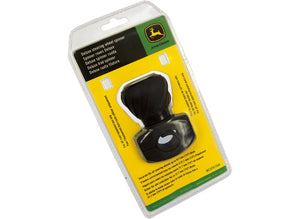 The John Deere Deluxe Steering Wheel Spinner in black. Image shows the product in its packaging