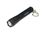 John Deere LED Torch Key Ring in black features white John Deere text