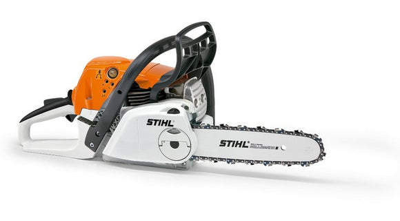 STIHL MS 231 Chainsaw in orange on white background with bar and saw chain attached