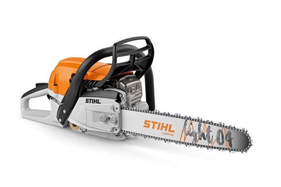 Product image of the STIHL MS 261 Petrol Mower in orange with white and black details. Shown with a STIHL light 04 chainsaw bar and saw chain