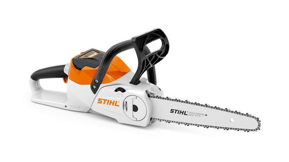 Product image of the STIHL 120 C-BQ chainsaw on a white background