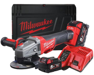 Milwaukee M18  Fuel 115mm Braking Grinder, Cordless Grinder, Image of battery powered grinder red and black in colour from Milwaukee tools. Also in the image is a product box, a battery and the battery charger.