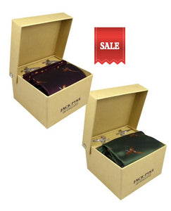 Jack Pyke tie, cufflinks and hanky gift set in green and wine colour ways, presented in gift boxes
