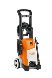STIHL RE 100 Pressure Washer in orange with white details. Shows the handle and pressure washer nozzle