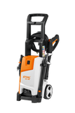 STIHL RE 100 Pressure Washer in orange and white from the side