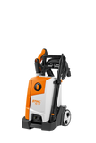 STIHL RE 110 pressure washer in orange with handle folded down