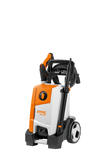 The STIHL RE 120 pressure washer with a folded down handle for increased ease of transport and storage