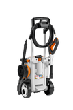 The back of STIHL RE 120 pressure washer with varying attachments