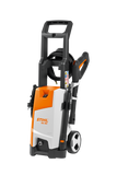 STIHL RE 90 Pressure Washer in orange with white details, and black handle from the side