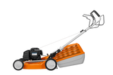 STIHL RM 248 T Walk Behind / Push Mower. Image shows the orange mower from the side view