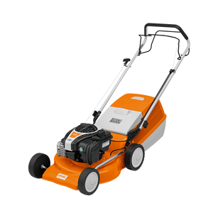 STIHL RM 248 T Walk Behind / Push Mower in orange, from the front angle