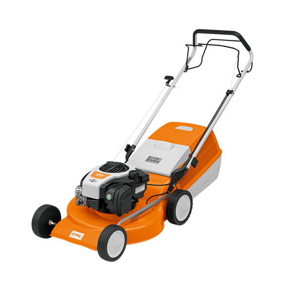 STIHL RM 253 T Walk Behind / Push Lawn Mower in orange with white and black details. The image is on a transparent background and shows the product