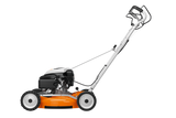 STIHL RM 4 RTP Walk Behind / Push Lawn Mower in orange. Image shows the mower from the side