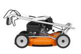 STIHL RM 4 RTP Walk Behind / Push Lawn Mower in orange. The image shows the mowing folded up for better storage