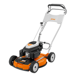 STIHL RM 4 RTP Walk Behind / Push Lawn Mower in orange on transparent background