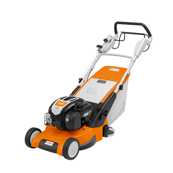 RM 545 VR STIHL Walk Behind / Push Mower in orange with black and white details. Image shows the front of the mower