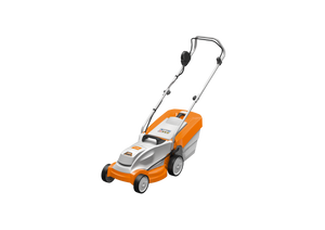 STIHL RMA 235 Walk Behind / Push Mower in orange, with white and black details. Product image on transparent background