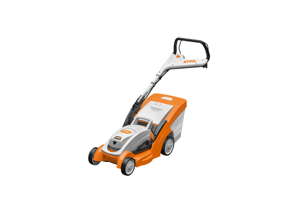 STIHL RMA 339 C Walk Behind / Push Mower in orange, with black and white details