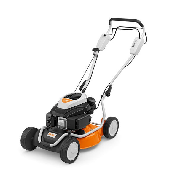 STIHL RM 2 RT Push Behind / Walk Behind Lawn Mower in orange with black engine on top. Product image on a white background