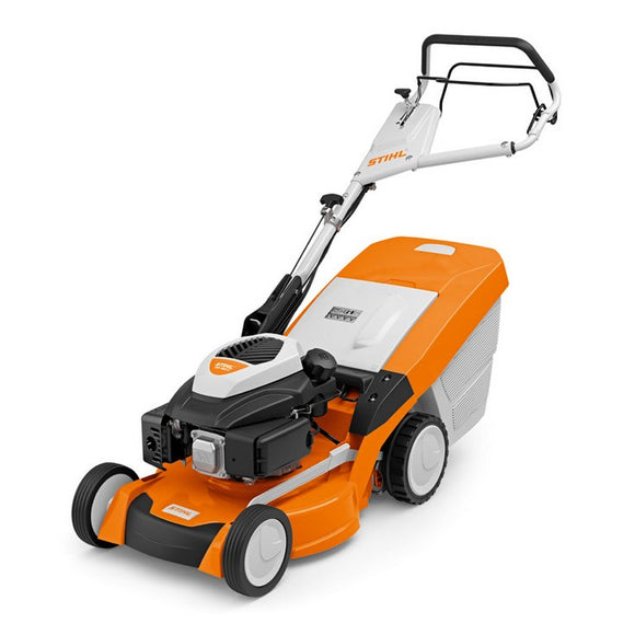 STIHL RM 650 V Petrol Lawn Mower in orange with white and black details, product image shown on white background