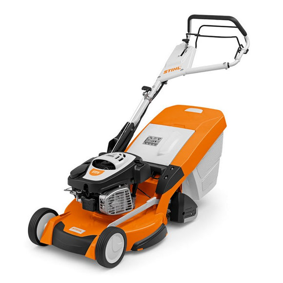 STIHL RM 655 RS Petrol Lawn Mower in orange with black and white details on white background