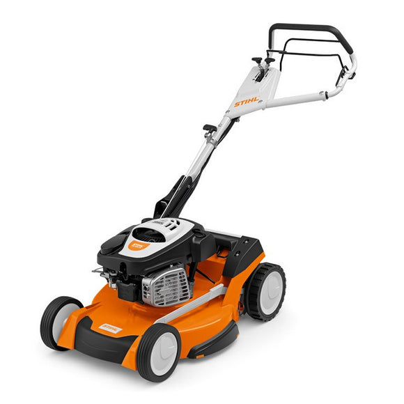 STIHL RM 655 VS Petrol Lawn Mower in orange with white and black details
