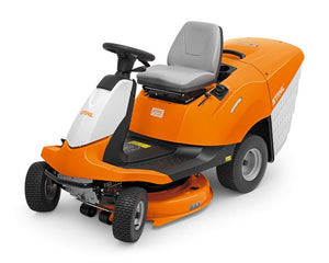 STIHL RT 4082 Orange Ride On Lawn Mower with white, black and grey details