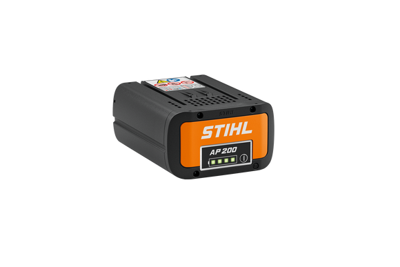 Image of STIHL AP 200 Battery. The battery is black with an orange front. Also features the LED charge indicator