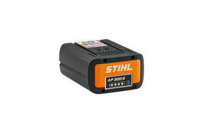 The product image of the STIHL 300 S battery. The battery is black, and features an LED charge light indicator