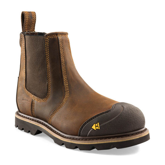 Buckler safety dealer boot in dark brown leather with a steel toe cap